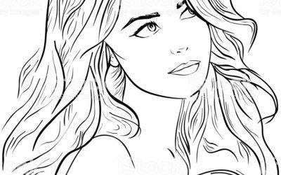 Young pretty woman portrait. Drawn elegant dreaming girl. Romantic beautiful lady. Hand drawn sketch
